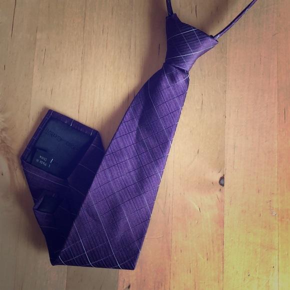New Kids Boys Zipper Adjustable Pre-tied Necktie Purple Lavender Stripes formal